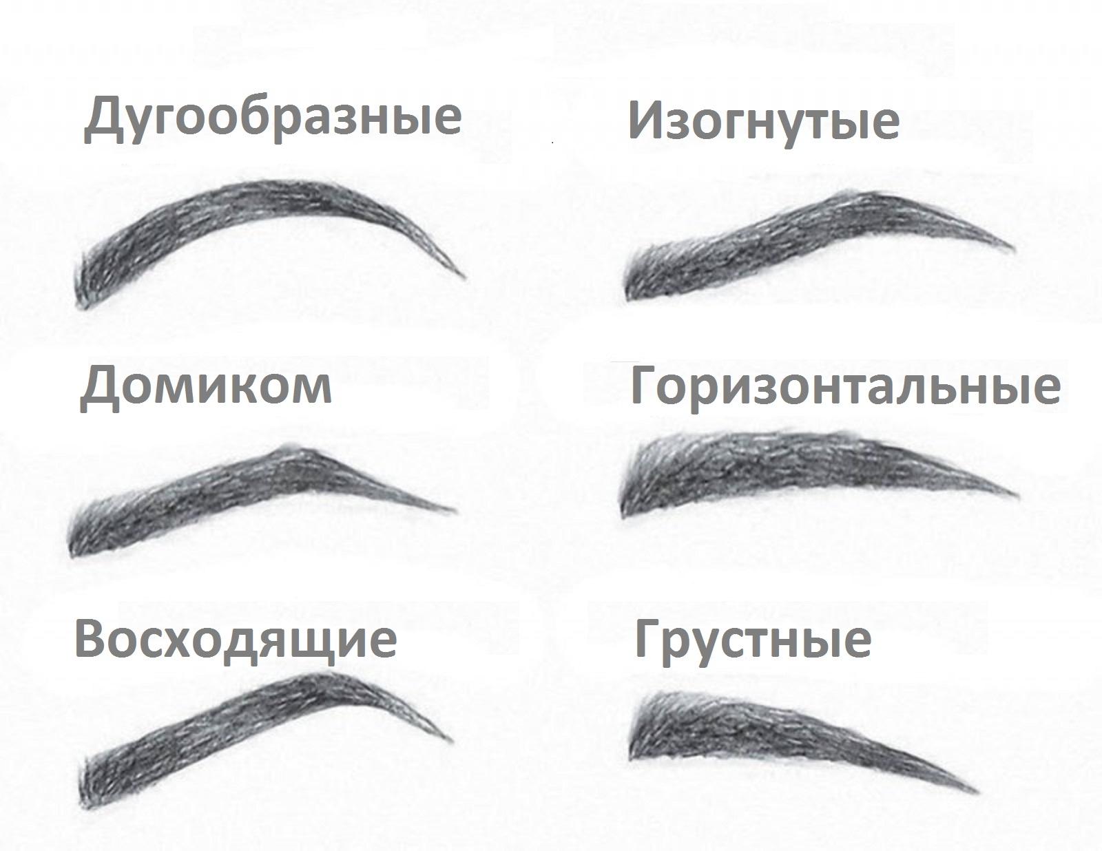 Какие бывают формы бровей