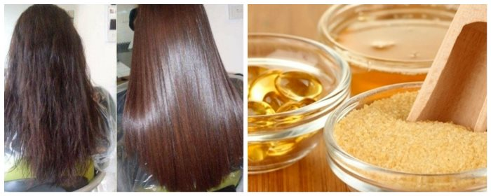 Маска для волос с желатином и шампунем